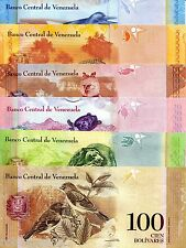 6 Note SET VENEZUELA 2 - 100 Bolivares Banknote World Money Currency BILL p88-93