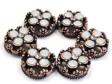 6 - 2 HOLE SLIDER BEADS WHITE OPAL & CLEAR CRYSTAL FLOWERS COPPER FLORAL FRAME
