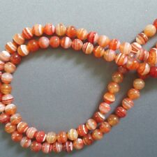 8mm Orange Red Sardonyx Striped Agate Round Beads 15""