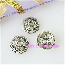 100 New Silver Tone Flower Heart Beads End Caps for DIY Crafts 8mm