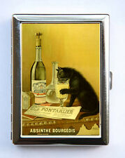 Absinthe Black Cat Poster Cigarette Case Wallet Business Card Holder vintage art