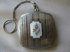 Antique Art Deco Silver T White Guilloche Enamel Pink Floral Dance Compact 1920s