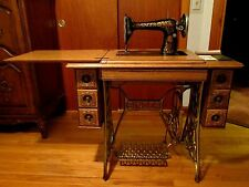ANTIQUE 1916 66-1 SINGER SEWING MACHINE & 7 DRAWER EMBOSSED WOOD TREADLE CABINET