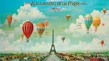 A0 SIZE PARIS BALLOONS cityscape PAINTING 1890 print photo art France french