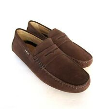 S-1453980 New Bally Dridor Lt Braken Suede Drivers Shoes Size US 7EEE Marked 6F