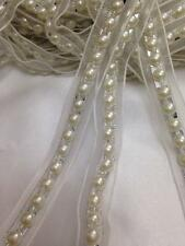 18mm Ivory/silver pearls Bead ribbin lace trim multi craft 1Yards