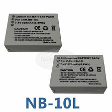 2X NB-10L Battery for Canon PowerShot SX40 HS SX50 HS SX60 HS G1 X G15 G16