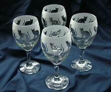 Cat gift Wine Glasses set of 4 sitting cat design