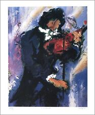 """Duaiv(French) """"Violinist""""Musical Limited Edition Hand Signed Lithograph art"""