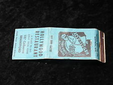C1950's Matchbook - Hollywood Restaurant, 187 Colborne, Brantford.