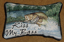 Kiss My Bass Fisherman Funny Tapestry Word Pillow