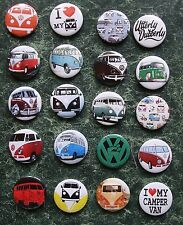 "VW CAMPERVAN SET 4 COMBO 20 x BUTTO BADGES 25mm 1"" PIN  VOLKSWAGEN VAN RETRO DUB"