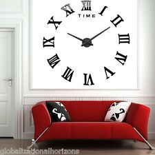 DIY Large 3D Wall Clock Mirror Sticker Metal Watches Roman Numeral Home Decor
