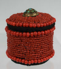 Vintage TIBETAN HANDMADE  RED CORAL BEADS ROUND TRINKET BOX W/TURQUOISE
