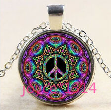 Vintage peace symbol Cabochon Tibetan silver Glass Chain Pendant Necklace #3197