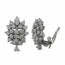 Sterling Silver CZ Cluster Womens Clip On Earrings