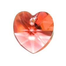 SCI293f PADPARADSCHA Pink 14mmm Faceted Heart Swarovski Crystal Pendant Bead 1pc