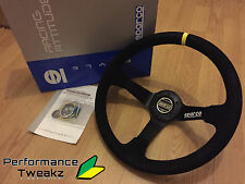 NEW UNIVERSAL BLACK SPARCO 350MM SUEDE DEEP DISH RACING SPORT STEERING WHEEL OMP