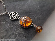 Outlander Dragonfly in Amber Necklace, Celtic Dragonfly Pendant Necklace