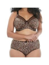GODDESS KAYLA CHOCOLATE TIGER UNDERWIRE BANDED BRA & BRIEF SET SIZE 36FF / 14FF