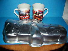 CARS Movie Disney Pixar LOT Wilton Aluminum Cake Pan &  2011 Ceramic Mugs 2