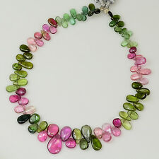 Pink Green Blue Tourmaline Smooth Pear Briolette Beads 8.3 inch strand