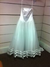 Strapless Corset White Satin Tulle Ballgown Wedding Gown Dress - Size 10