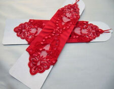 1g Red Luxurious Bridal Satin Elbow Length Fingerless Wedding Prom Gloves