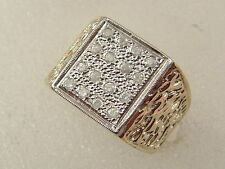 10K MEN'S NUGGET DIAMOND RING 10 KARAT GOLD LARGE SQUARE TOP NUGGET DIAMOND RING