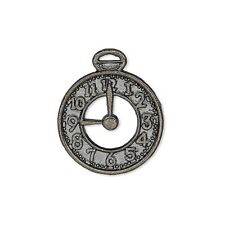 10 Gunmetal Black Pewter 25x21mm Flat Pocket Watch Clock Face Charms Pendants