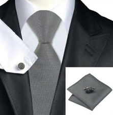 Gift Box Mens Plain Silver  Silk Woven Tie+Hanky & Cuflinks Matching Set 141