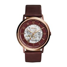 Fossil ME3137 VINTAGE MUSE Automatic Skeleton Maroon Leather-Strap Watch