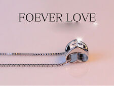 925  silver plating Swarovski Crystal Love Heart Necklace Pendant Chain