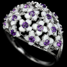 Sterling Silver 925 Enamel Flower & Genuine Natural Amethyst Ring Size S US 9.5