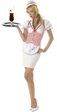 New 50's Soda Shop Sweetie Waitress Car Hop Womens Halloween Costume Large