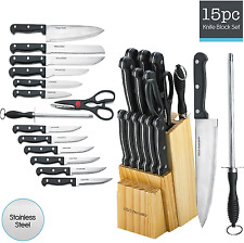 Kitchen Knife Set 15 Piece Block Stainless Steel Chef Cutlery Steak Knives New