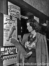 Woman Buying Stockings from a Vending Machine - 1950s - Vintage Photo Print