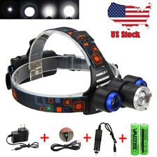 Zoomable 15000LM XML T6 LED Focus LED Headlamp USB Flashlight Torch Lamp+2x18650