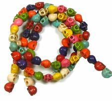 8x10mm Skull Beads Chalk Turquoise Dyed/Stabilized Mix  Beads 15 in Loose Strand