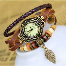 Retro Women Wrap Around Quartz Leather Band Bracelet Bangle Watch - Coffee LW