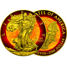 SOLAR FLARE American Eagle  silver coin USA  2016  24K Gold Plated and Gilded