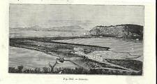 Stampa antica NAPOLI veduta dell' Isola di PROCIDA 1889 Old antique print