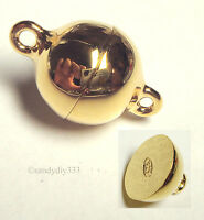 1x REAL 18K Gold plated STERLING SILVER ROUND BALL MAGNETIC CLASP 8mm G100