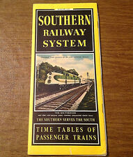 Vintage 1947 Southern Railway System SOU Railroad Time Tables Brochure, Maps