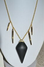 NWT $175 ALEXIS BITTAR Black Lucite Spear Necklace Gold Liquid Accent Crystals