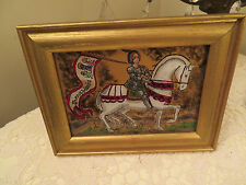 REVERSE PAINTING ON GLASS KNIGHT ON HORSE BY SANDY DALE