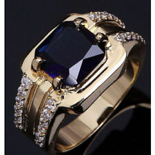Fashion Man Yellow Gold Filled Size10 Blue Sapphire Wedding Ring