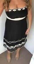 Principles Pure Silk Black A Line Fitted Midi Dress With White Appliqué Size 12
