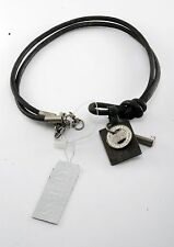 GUESS DESIGNER 3 CHARM KEY & TOKEN PENDANT LEATHER CORD NECKLACE #4047-9041 NWT