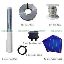 40pc 6x6 células solares Kit hágalo usted mismo 160 W Panel Solar C / tabulación, Cable De Bus, La Caja